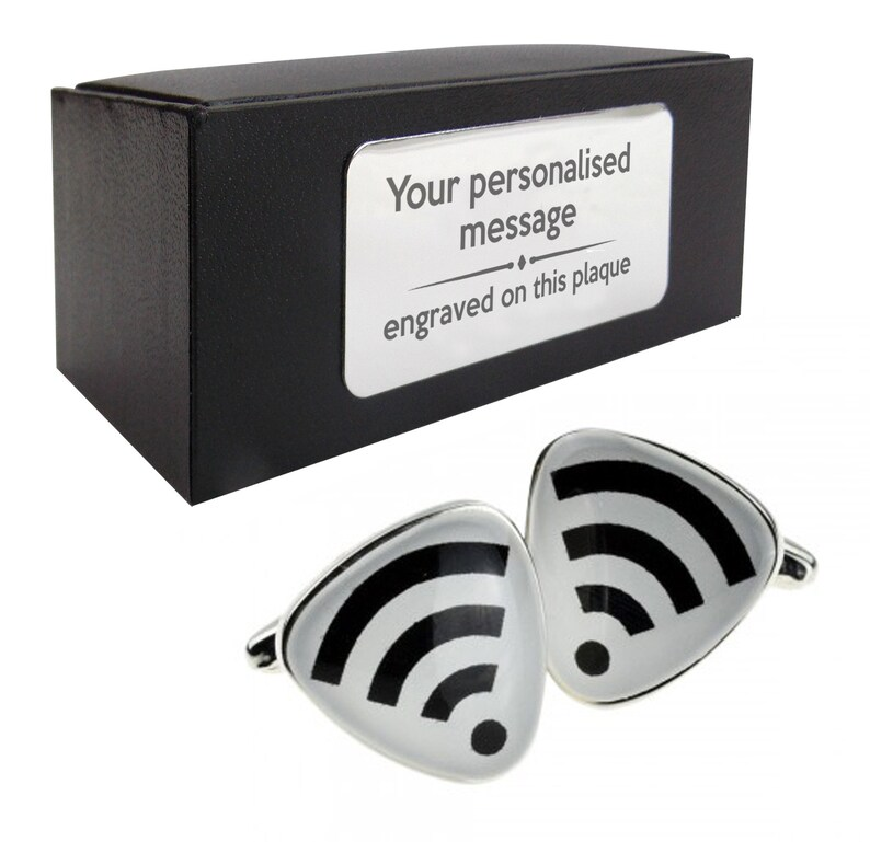 878 Wifi computing computer CUFFLINKS birthday gift idea presentation box with PERSONALISED ENGRAVED plate