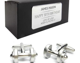 Weight lifting dumbells CUFFLINKS 30th, 40th, 50th, 60th, 70th birthday gift, presentation box PERSONALISED ENGRAVED plate - 265
