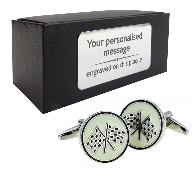 presentation box with PERSONALISED ENGRAVED plate Chequered flag F1 racing CUFFLINKS birthday gift idea 225