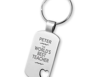 Engraved World's Best TEACHER keyring gift, heart cut out keyring - 5583TEA3