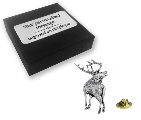 SILVER PEWTER METAL BUTTON ENGRAVING DEER STAG IN FOREST crafts bags Cushion