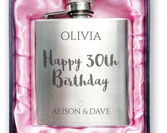 Personalised engraved 30TH BIRTHDAY stainless steel hip flask gift idea, handbag sized in a presentation box - 3SP30
