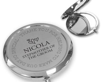 Personalised engraved STEP MUM of the GROOM compact mirror wedding thank you gift idea, handbag mirror - FL9