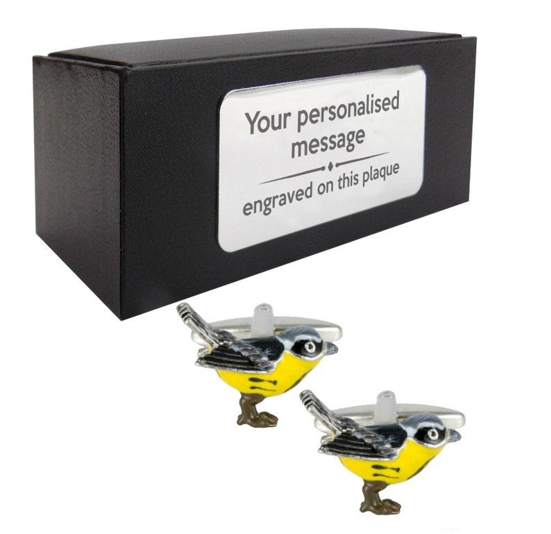 presentation box PERSONALISED ENGRAVED plate Bird 1495 bird watcher CUFFLINKS gift