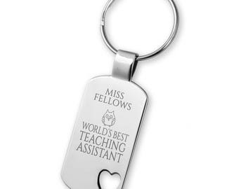 Engraved World's Best TEACHING ASSISTANT keyring gift, heart cut out keyring, owl - 5583TEA2
