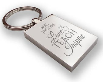 Personalised engraved TEACHER, teaching assistant keyring end of term gift, thank you - TEA4