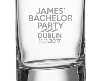 Engraved STAG PARTY shot glass, personalised shot glasses with bachelor's name and stag night date and venue - SH-STAG3