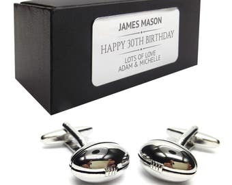 Rugby ball CUFFLINKS 30th, 40th, 50th, 60th, 70th birthday gift, presentation box PERSONALISED ENGRAVED plate - 183