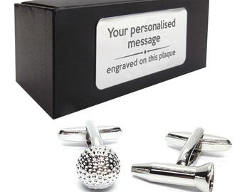 Golf ball golf tee, golfer golfing CUFFLINKS gift, personalised engraved cufflink box - 185