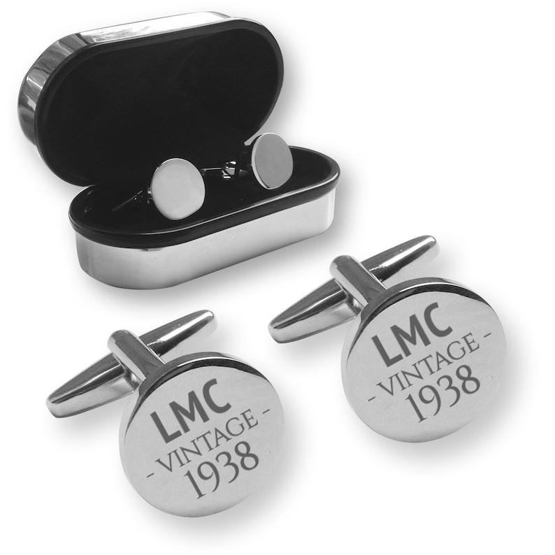 RC-V80 chrome coloured presentation box Personalised engraved 80TH BIRTHDAY round cufflinks gift
