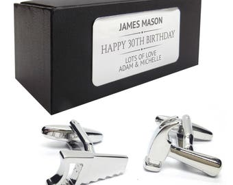 Hammer Saw diy tools CUFFLINKS 30th, 40th, 50th, 60th, 70th birthday gift, presentation box PERSONALISED ENGRAVED plate - 036