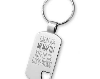 Engraved TEACHER keyring gift, Great Job, heart cut out keyring - 5583TEA6