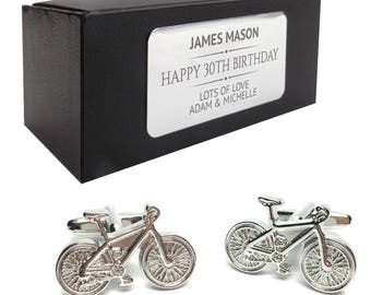 Cyclist bicycle cycle CUFFLINKS 30th, 40th, 50th, 60th, 70th birthday gift, presentation box PERSONALISED ENGRAVED plate - 615