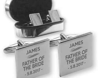 Personalised engraved FATHER of the BRIDE wedding cufflinks, in a chrome coloured presentation box - DU1