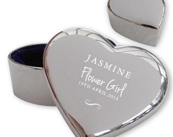 Personalised engraved FLOWER GIRL heart shaped trinket box wedding thank you gift idea  - TRW9