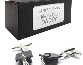 Graduation mortar board teacher CUFFLINKS World's best dad, grandad, uncle, husband gift, presentation box PERSONALISED ENGRAVED plate - 123