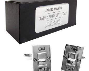 Electrician switch power CUFFLINKS 30th, 40th, 50th, 60th, 70th birthday gift, presentation box PERSONALISED ENGRAVED plate - 133