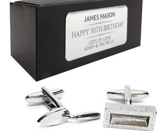 Builder brick layer CUFFLINKS 30th, 40th, 50th, 60th, 70th birthday gift, presentation box PERSONALISED ENGRAVED plate - 340