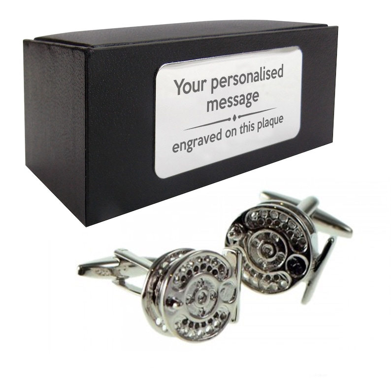 317 fisherman CUFFLINKS birthday gift idea Fishing reel angler angling presentation box with PERSONALISED ENGRAVED plate