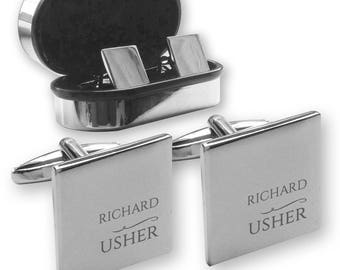 Personalised engraved USHER wedding cufflinks, in a chrome coloured presentation box - NY5