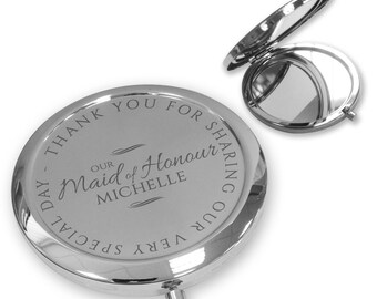Personalised engraved MAID OF HONOUR compact mirror gift, handbag pocket mirror Push button, deluxe - PBWD3