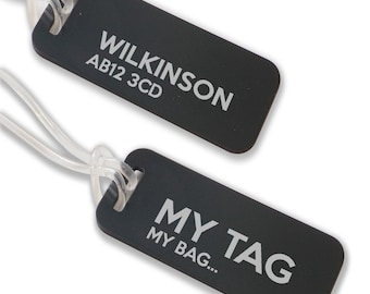 Personalised engraved suitcase holiday BAG luggage TAG, coloured aluminium custom luggage tag - ANB9-F1