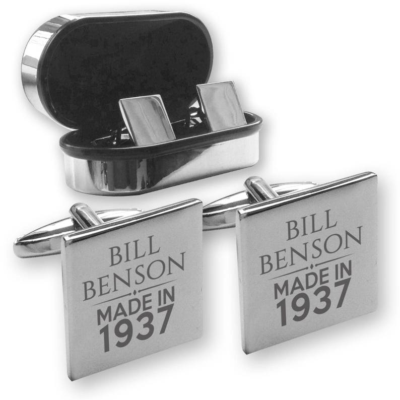 Personalised engraved 80TH BIRTHDAY cufflinks Made in 1937 in a chrome coloured presentation box MAD80