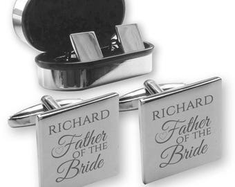Personalised engraved FATHER of the BRIDE wedding cufflinks, in a chrome coloured presentation box, Heart - HE1