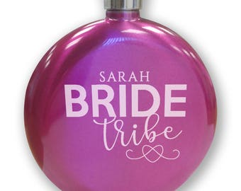 Personalised engraved HEN PARTY bachelorette hip flask gift, hot PINK round 5oz personalized flask, bride tribe - HPHE1
