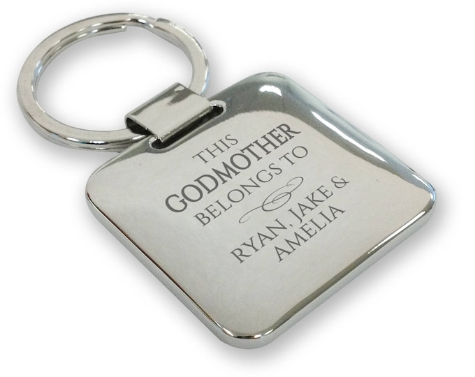 Personalised engraved SILVER PLATED This GODMOTHER belongs to keyring gift, deluxe pillow square keyring - SQB10