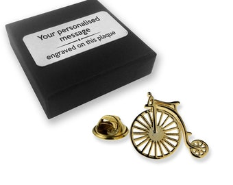 Penny farthing bicycle gift, lapel pin badge, tie pin, brooch accessory, boutonniere - personalised engraved gift box - 896