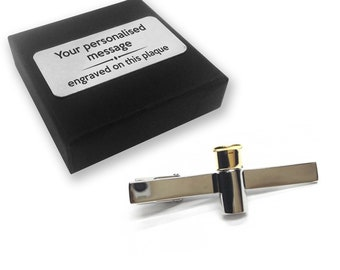 Gun cartridge clay shooting gift, TIE CLIP, tie tac, personalised ENGRAVED gift box - 061