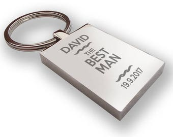 Personalised engraved BEST MAN keyring wedding gift, thank you favour - RP2
