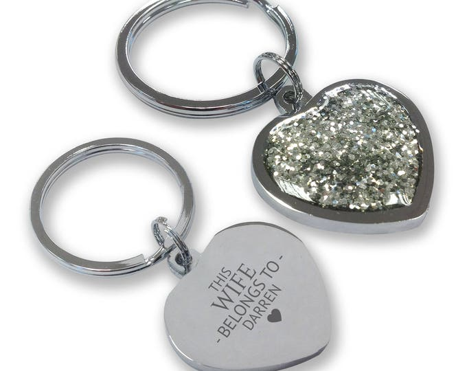 Personalised engraved This WIFE belongs to keyring gift, glittery bling heart shaped keyring - GHE-B7