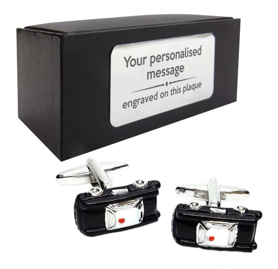 Select Gifts Police Cruiser Gold-Tone Cufflinks Engraved Message Box