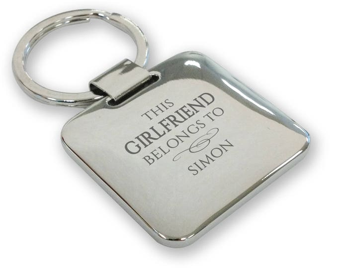Personalised engraved SILVER PLATED This GIRLFRIEND belongs to keyring gift, deluxe pillow square keyring - SQB11