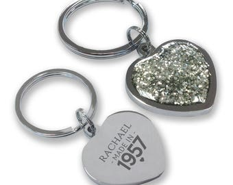 Personalised engraved 60TH BIRTHDAY keyring gift, glittery bling heart shaped keyring - GHE-M60