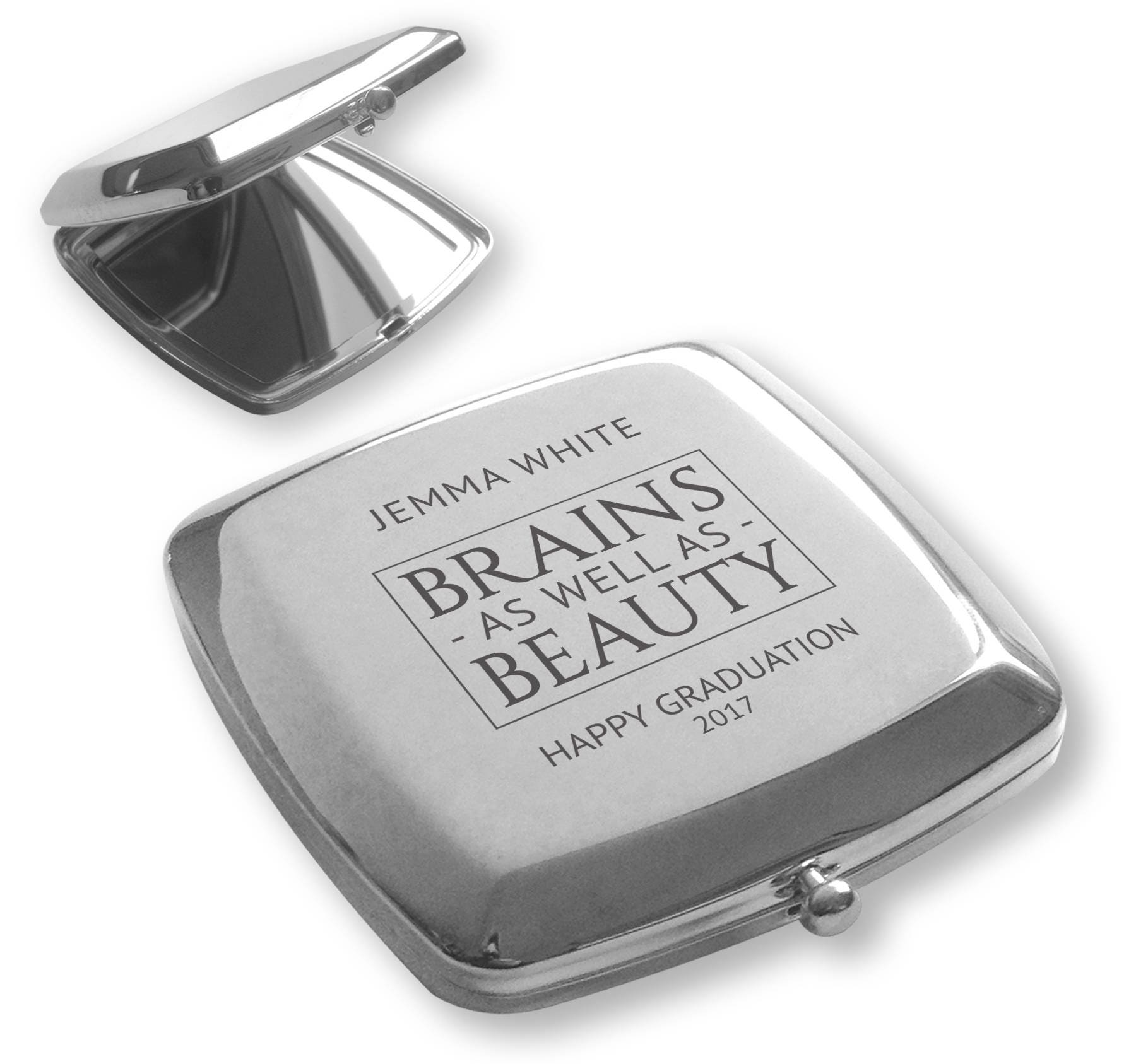 personalised engraved silver plated compact mirror. Black Bedroom Furniture Sets. Home Design Ideas