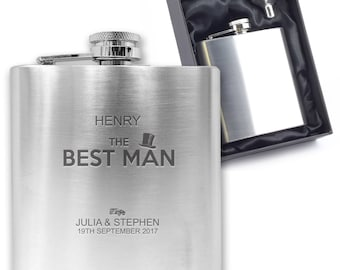 Personalised engraved BEST MAN hip flask wedding thank you gift idea, stainless steel presentation box - HA2
