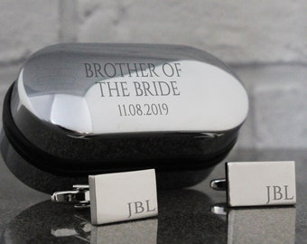 Engraved BROTHER of the BRIDE wedding cufflinks, monogram, cuff links, engraved cufflinks box - RT-W4