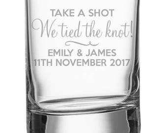 Engraved WEDDING shot glass, personalised shot glasses wedding favours, We tied the knot - SH-WED1