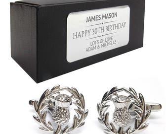 Scottish thistle Scotland Scot CUFFLINKS birthday gift, presentation box PERSONALISED ENGRAVED plate - 214