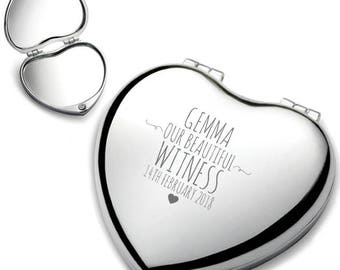 Personalised engraved WITNESS heart shaped compact mirror wedding thank you gift idea, chrome plated - HEM-2
