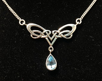 Celtic Knot Necklace with Blue Topaz Drop in Sterling Silver
