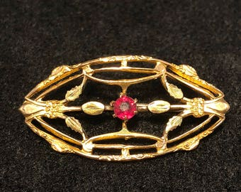 Antique 10K Gold Pin With Red Stone Intricate Victorian
