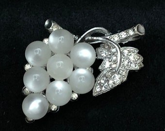 Vintage White Moon Glow Lucite and Rhinestone Grape Brooch