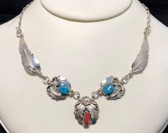 Sterling Silver Turquoise and Coral Feather Native Necklace