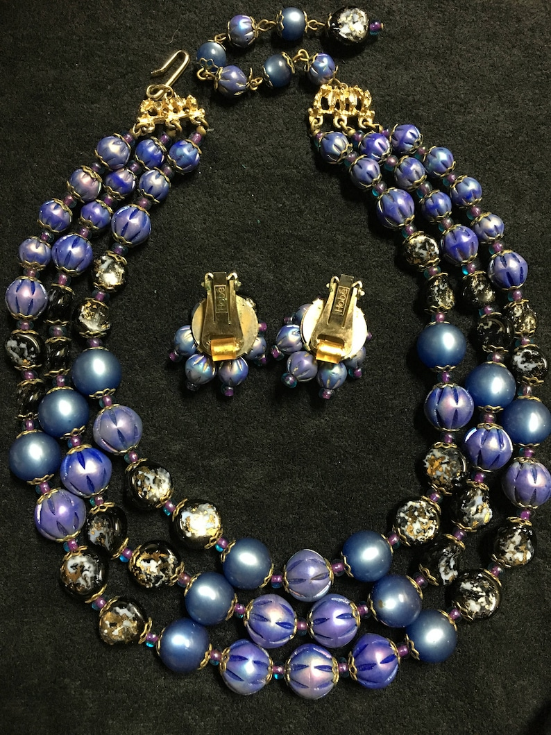 Vintage Hobe Bead Necklace and Earring set Clip on earrings triple strand Blue lavender black- MOONGLOW