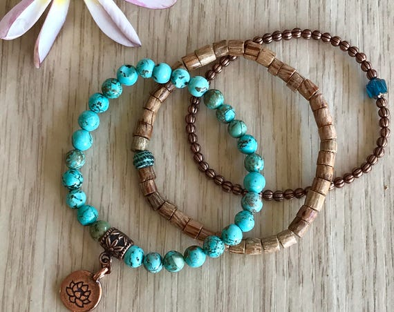 Wristocracy - Magnesite, Wood Heishi & Antique Copper Bracelets - (set of 3)
