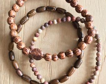 Wristocracy - Wood, Copper & Flower Agate Bracelets (set of 3)